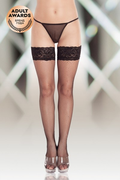 Чулки-сетка (c силик. полосками) SoftLine Collection, чёрный, M