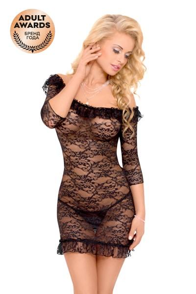 Платье с открытыми плечами и стринги SoftLine Collection Agathe, черный, S/M