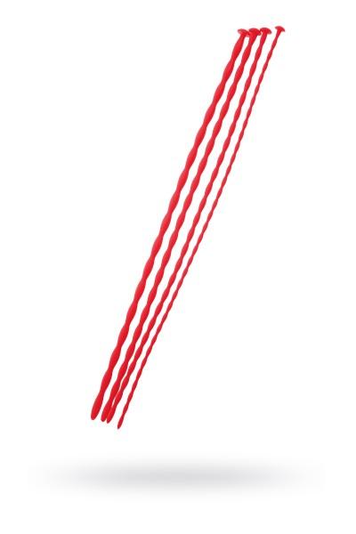 Набор уретральных зондов Black & Red by TOYFA, 4 штуки, красный