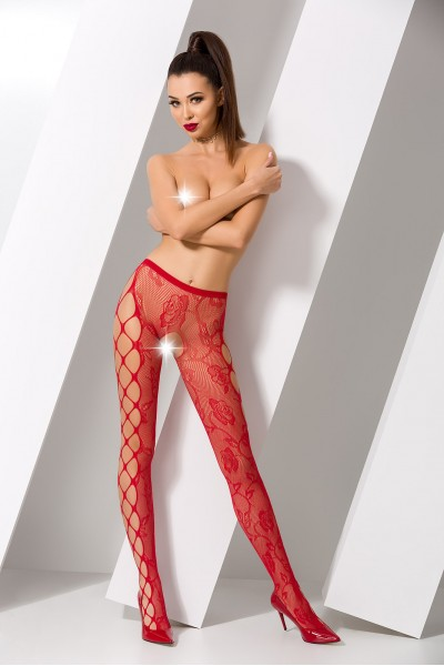 Колготки Passion Erotic Line с доступом, красные, OS