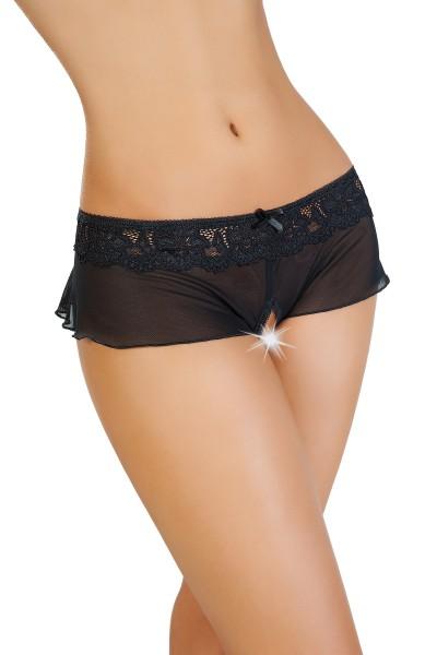 Эротические трусики-юбочка Erolanta Lingerie Collection из стрейч-сетки, черные (42-44)