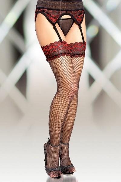 Чулки-сетка и пояс для чулок SoftLine Collection, черно-красный, L