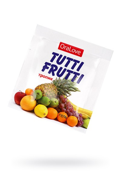 Съедобная гель-смазка TUTTI-FRUTTI для орального секса со вкусом экзотических фруктов ,4гр по 20 шт
