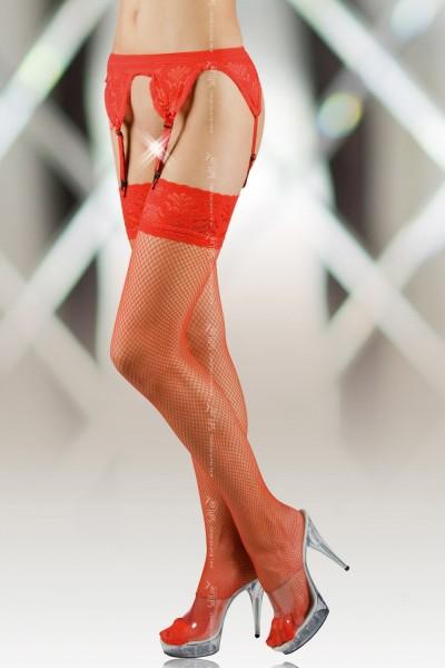 Чулки-сетка и пояс SoftLine Collection, красный, XL