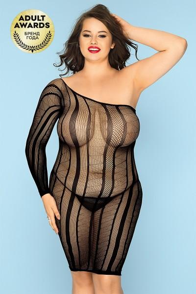 Платье-сетка и стринги Candy Girl Nikki черные, 2XL