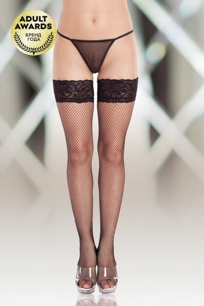 Чулки-сетка (c силик. полосками) SoftLine Collection, чёрный, XL