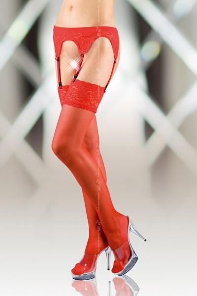 Чулки с кружевной резинкой и поясом красные-XL