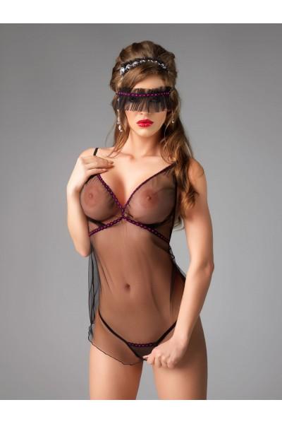 Комплект Me Seduce Diva (комбинация, повязка на глаза и стринги), черный, L/XL