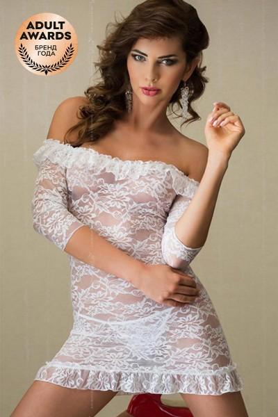 Платье с открытыми плечами и стринги SoftLine Collection Agathe, белый, S/M