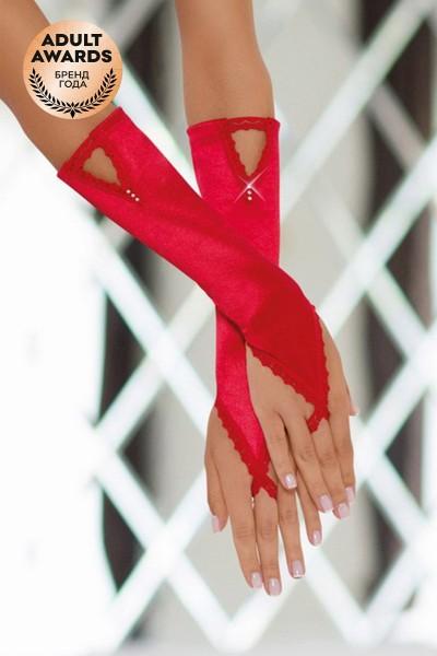 Перчатки атласные короткие SoftLine Collection, красный, S/L