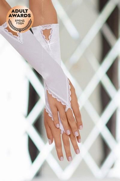 Перчатки атласные короткие SoftLine Collection, белый, S/L