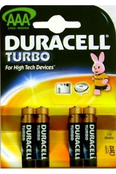 Мизинчиковые батарейки типа ААА Duracell LR03 Turbo 4 шт