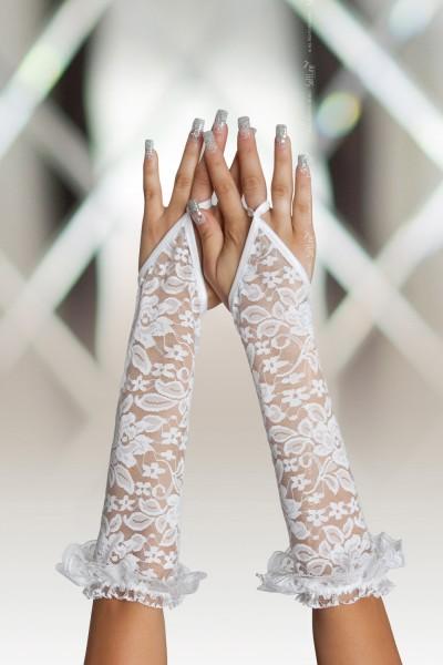 Перчатки кружевные длинные SoftLine Collection, белый, S/L