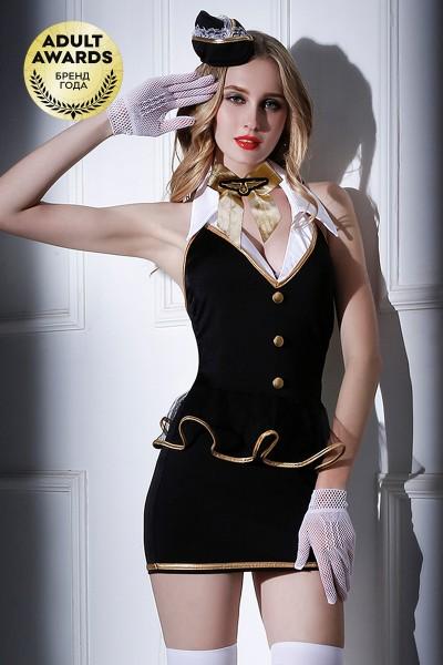 Костюм стюардессы Candy Girl Amber (платье,трусы,перчатки,чулки,галстук,ободок),черно-белый,OS