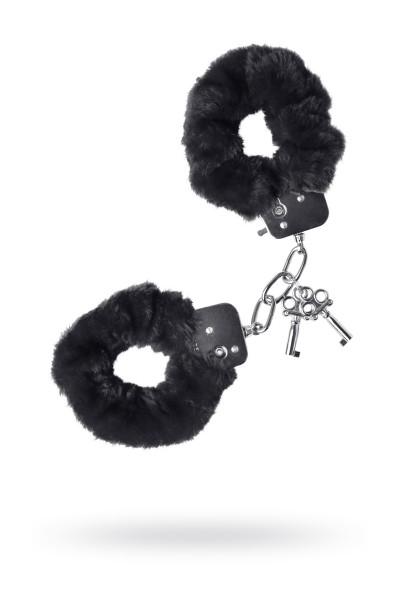 Наручники TOYFA Theatre, меховые, черные, 28 см.
