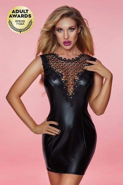 Платье wetlook и стринги Candy Girl Francesca черные, OS