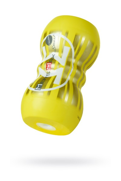 Мастурбатор нереалистичный, Smart Doubble, MensMax, TPE, желтый, 14,5 см